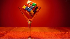 Colorful Puzzle Cube In Wine Glass